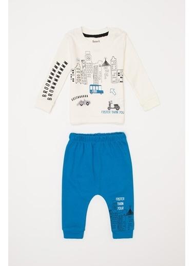 DeFacto Erkek Bebek Baskılı Alt Üst Takım Mavi